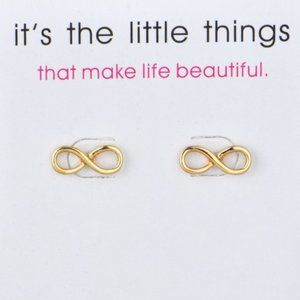 5 for $25 Gold Color Dainty Infinity Earrings